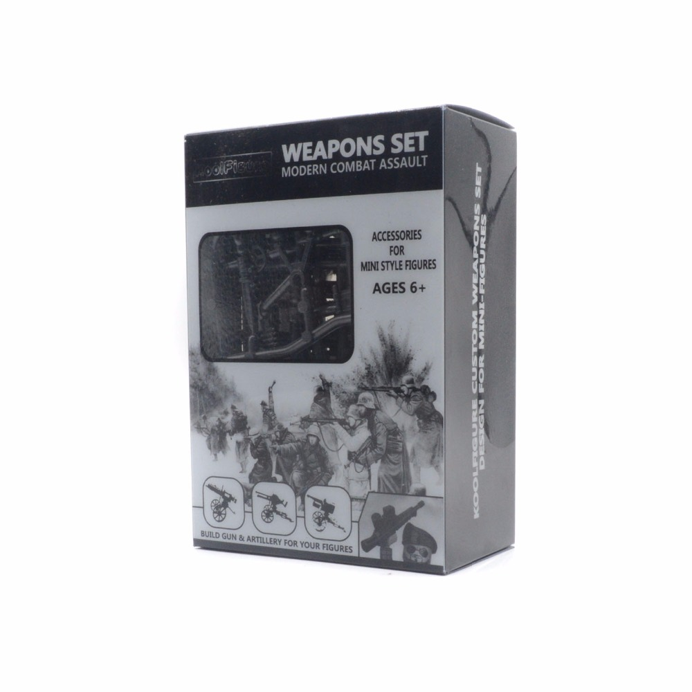 Koolfigure Weapons Pack for Building Brick Figures,Guns and Artillery Accessories for Military Soldiers,Bronze Color