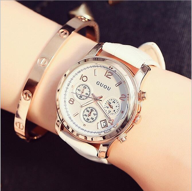 Las mujeres del reloj de guou relojes impermeable Cuero auténtico reloj de señoras de lujo fecha auto reloj señora reloj Mujer