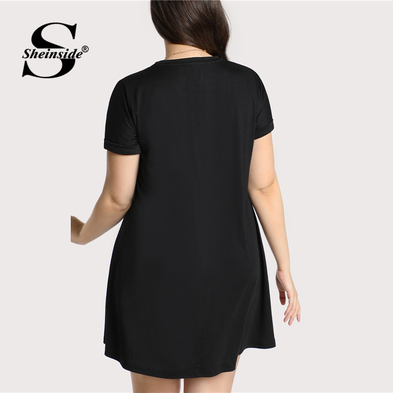 Sheinside Floral Black Plus Size Casual Dress Women Round Neck Embroidery Straight Shift Stretchy Summer Above Knee Dresses
