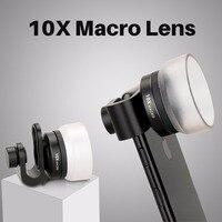Phổ Nhôm Siêu 10x Macro Clip-on điện thoại Di Động Lens cho iPhone 7 6 Cộng Với Samsung Huawei Di Động Camera Lens với Lens Hood