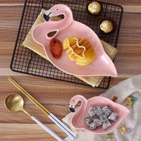 Ceramic Flamingo Shape Plate Dish Dinner Dessert Plate Baby Kids Porcelain Dinnerware Children Dinner Plate Travel
