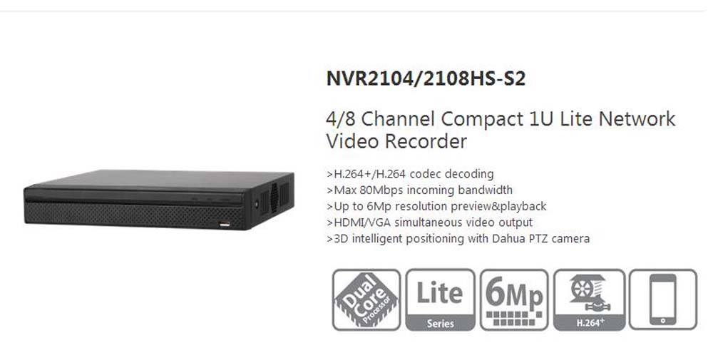 Free Shipping Dahua 4Ch Compact Lite NVR English Version H.264 HD 1080P 6Mp Without Logo NVR2104HS-S2/NVR2108HS-S2