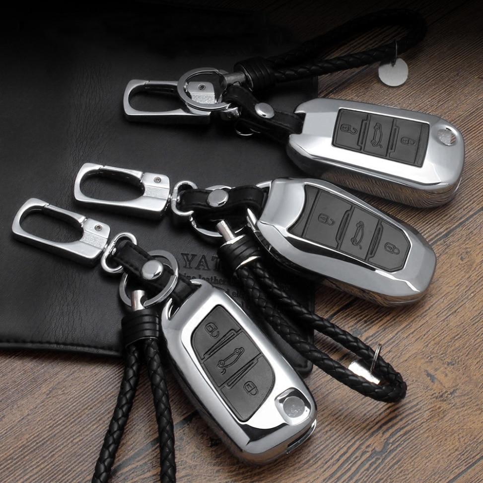 Zinc alloy Leather Car Key Cover Case For Citroen  C6 C4 CACTUS DS4 DS5LS DS6 Elysee For Peugeot 3008 4008 5008 408 2008 308 508
