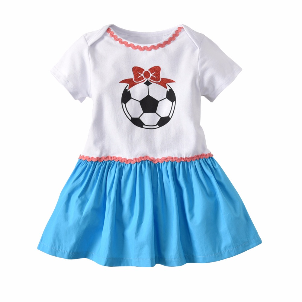 2018 Fashion World Cup Football Pattern Baby Girl Hit Color Bodysuit With Skirt Newborn Short Sleeve Onesie Daddy Baby Bodysuit