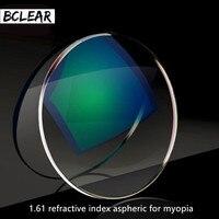 BCLEAR 1.61 인덱스 수지 렌즈 광학 렌즈 UV400 반사 코팅 렌즈 광학 안경 안경 근시 짧은 보자마자