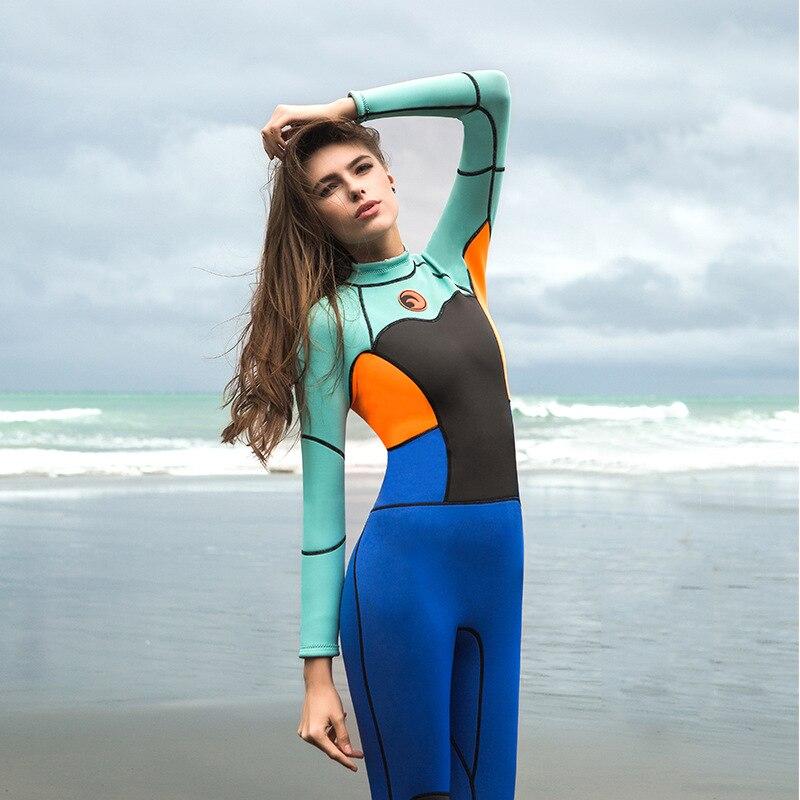 1.5mm néoprène combinaison femmes 2017 Protection solaire extérieure Surf chaud combinaison de plongée femme à manches longues maillot de bain une pièce combinaisons humides - 2