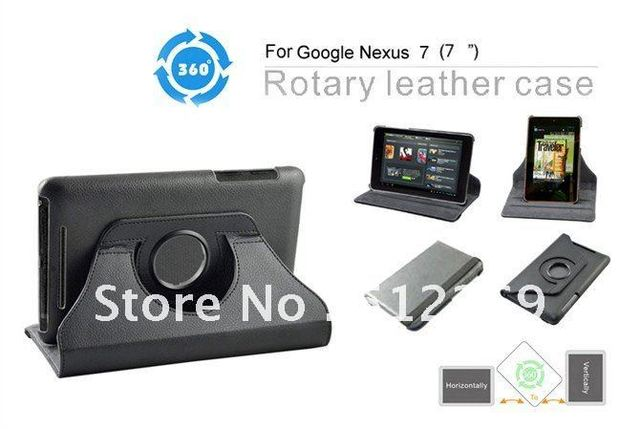 New Arrival 360 ROTARY STAND LEATHER CASE COVER FOR Google Nexus 7 Tablet PC Black   Free Shipping 10pcs/lot