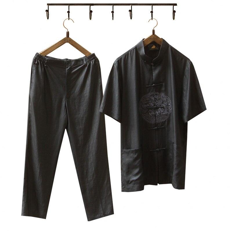 2018 г. Новые мужские натуральный шелк с коротким рукавом рубашки и брюки китайские винтажные мужские воротник стойка кунг фу набор свободные