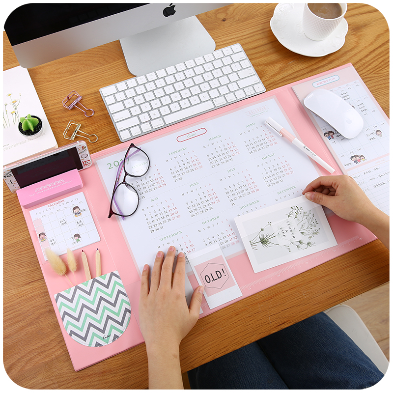 4 Candy Colors Kawaii Multifunctional Pen Holders Writing Pads 2019 2020 Calendar Mat Learning Pad Office Mat Desk Accessories