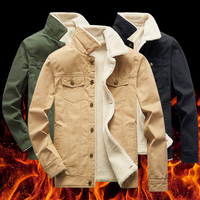 Winter Jakcets Coats Plus Velvet Solid Color Men's Jakcets Coat Wool Warm Male Fur Collar Black Green Khaki Men's Jakcets Coat