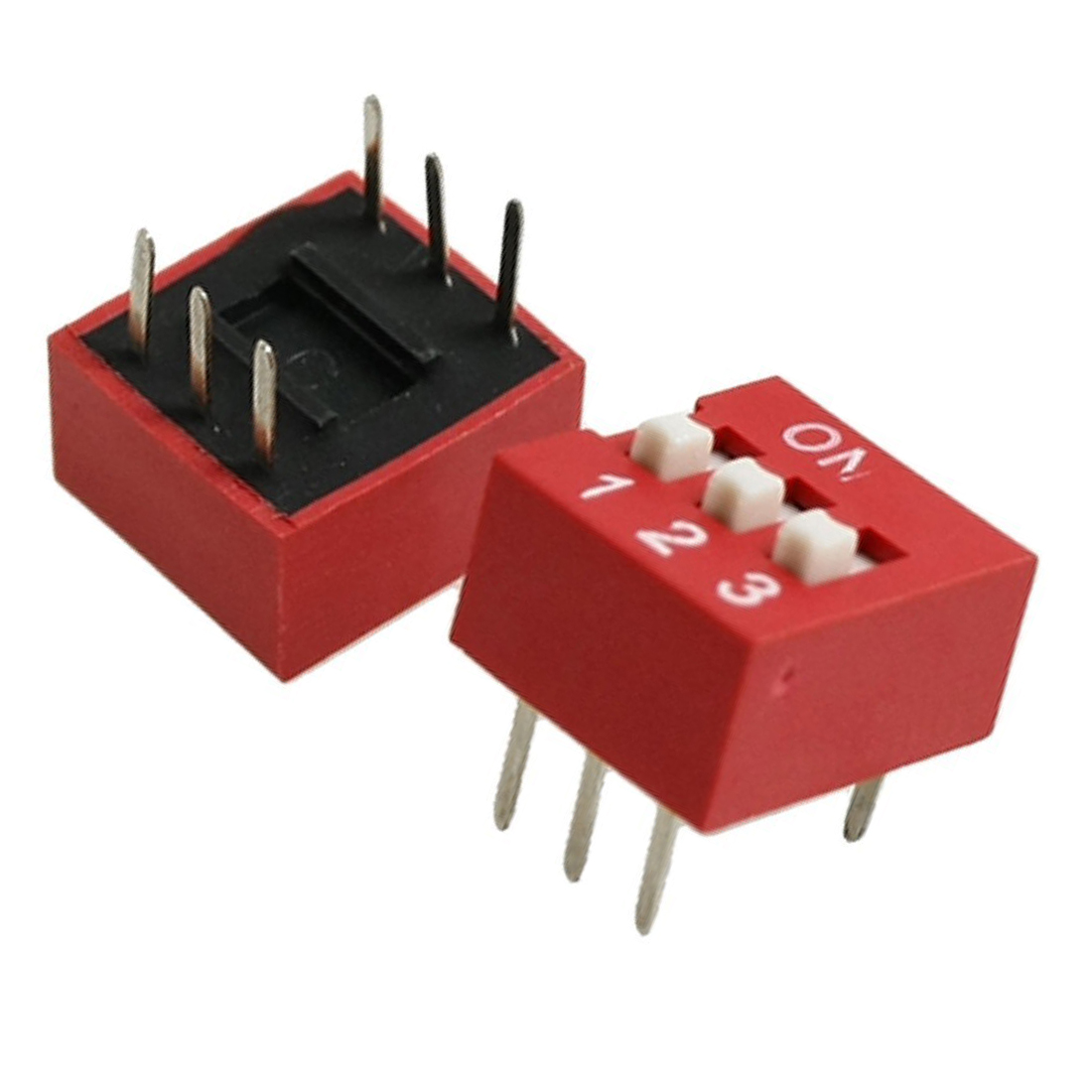 High Quality 10 Pcs 2.54mm Pitch 3 Positions 6 Pin Red DIP Switch 3P