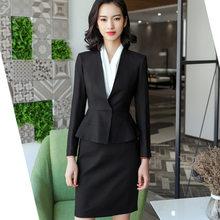 Spring New elegant skirt suits set women Business slim long sleeve blazer  with skirt office ladies plus size Interview work wear 143d8565e1fd