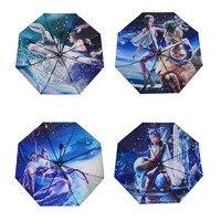 12 созвездий ветрозащитный солнечные зонтики Новинка Зонт Три раза Сверхлегкий черное покрытие Anti UV Для женщин дождь зонтик