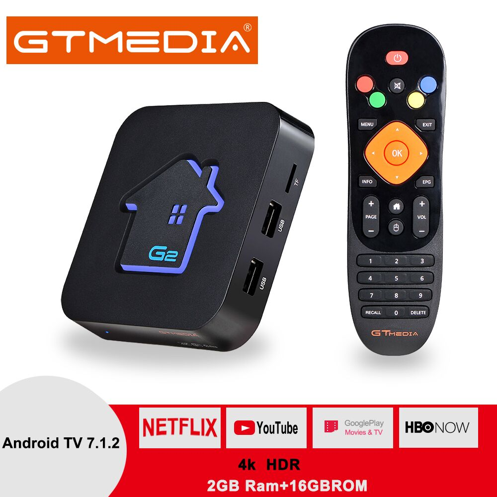 US $14 53 25% OFF|Original GTMEDIA G2 TV Box+IPTV server 4K HDR Android 7 1  Ultra HD 2G 16G WIFI Google Cast Netflix IPTV Set top Box Media Player-in