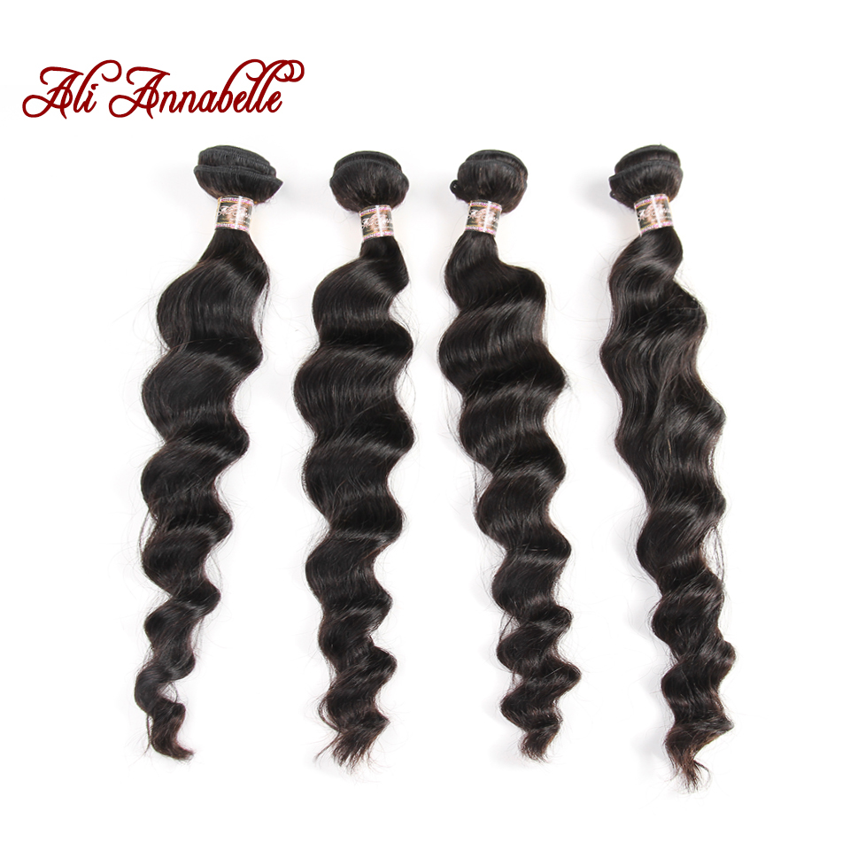 ALI ANNABELLE HAIR Peruvian Loose Wave Human Hair Bundles Natural Color 4 Bundles 100 Remy Hair