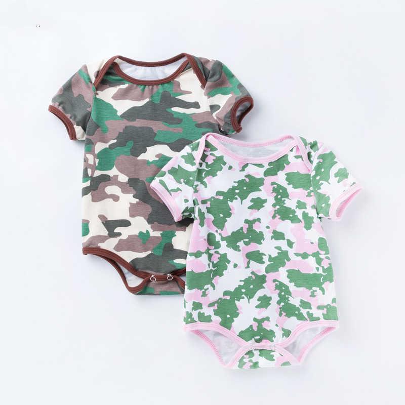 2019 боди из чистого хлопка с короткими рукавами для новорожденных, камуфляжный комбинезон с круглым вырезом и треугольным воротником для малышей
