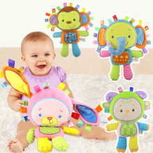 5 Styles Baby Toys Rattles Pacify Doll Plush Toys Baby Rattles Animal Hand Bells Newbron Animal elephant/monkey/lion/rabbit(China)