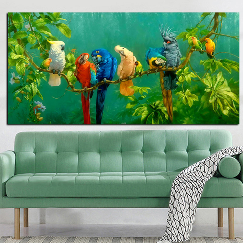 HD Print Colorful Parrot Bird on Branches Oil Painting on Canvas Abstract Wall Painting For Living Room Sofa Cuadros Decoration