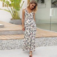 Bohoartist Summer Maxi Dress Women Floral Print V Neck Spaghetti Strap Backless 2018 Holiday Lace Up Women's Sexy Long Dresses