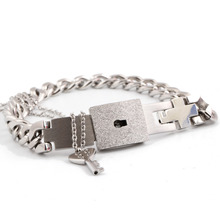 Couple Jewelry Sets Stainless Steel Love Lock Bracelets Bangles Key Pendant Necklace Couples
