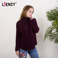 LIENZY Autumn Casual Women Sweater High Neck Logn Sleeve Warm Knitted Pullovers Female Khaki Purple White