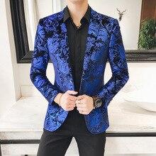 Royal Blue Red Gold Blazer Jacket Floral Prom Blazer For Men