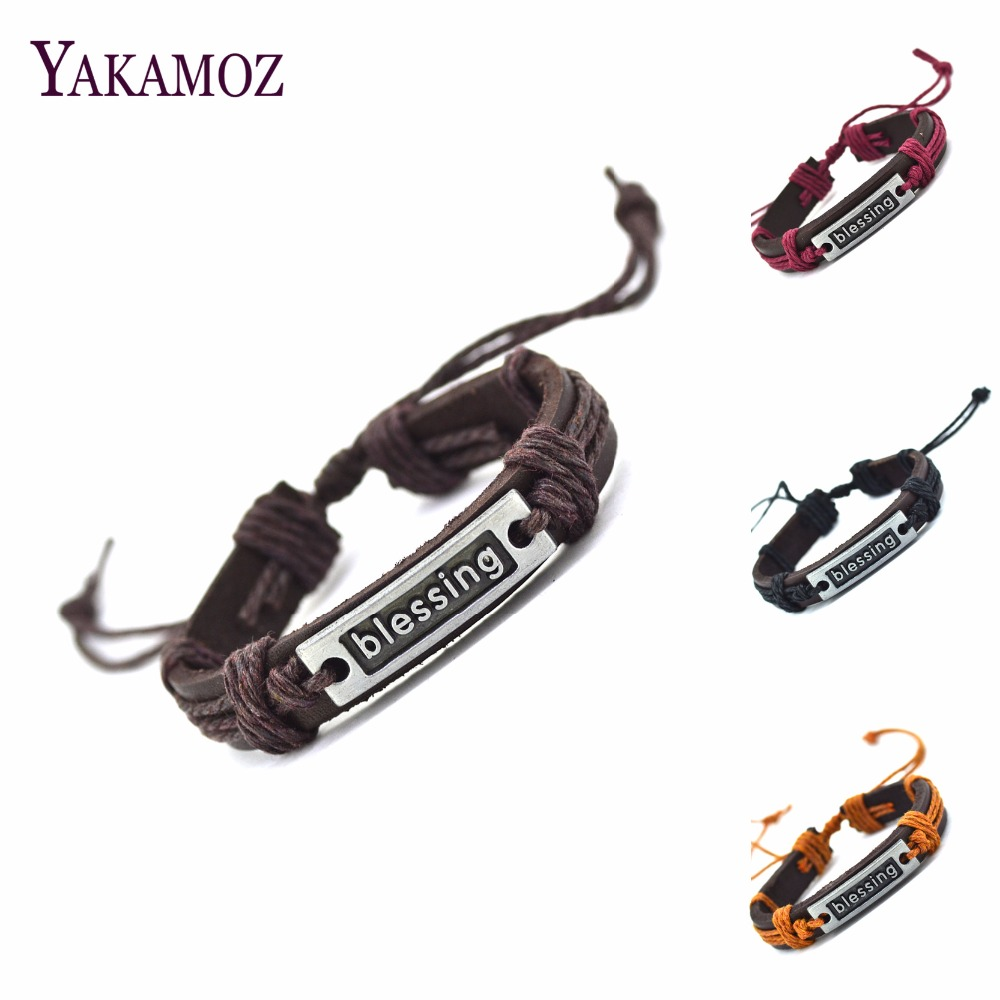 2017 Blessing Genuine Leather Charm Bracelet Cuff Braided Wrap Bracelet & Bangles Fashion For Women Men Gifts