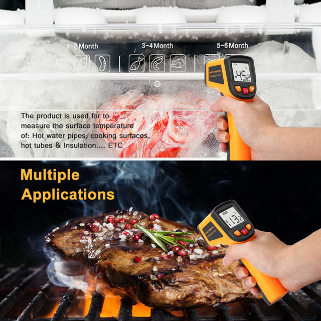 DEKO WD01 Non-Contact Laser LCD Display IR Infrared Digital C/F Selection Surface Temperature Thermometer Pyrometer Imager 5