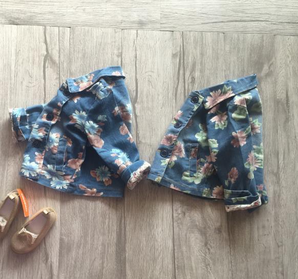 Hu sunshine wholesale 2017 Wholesale spring hot fashion girl cotton denim blue green flower childrens coats