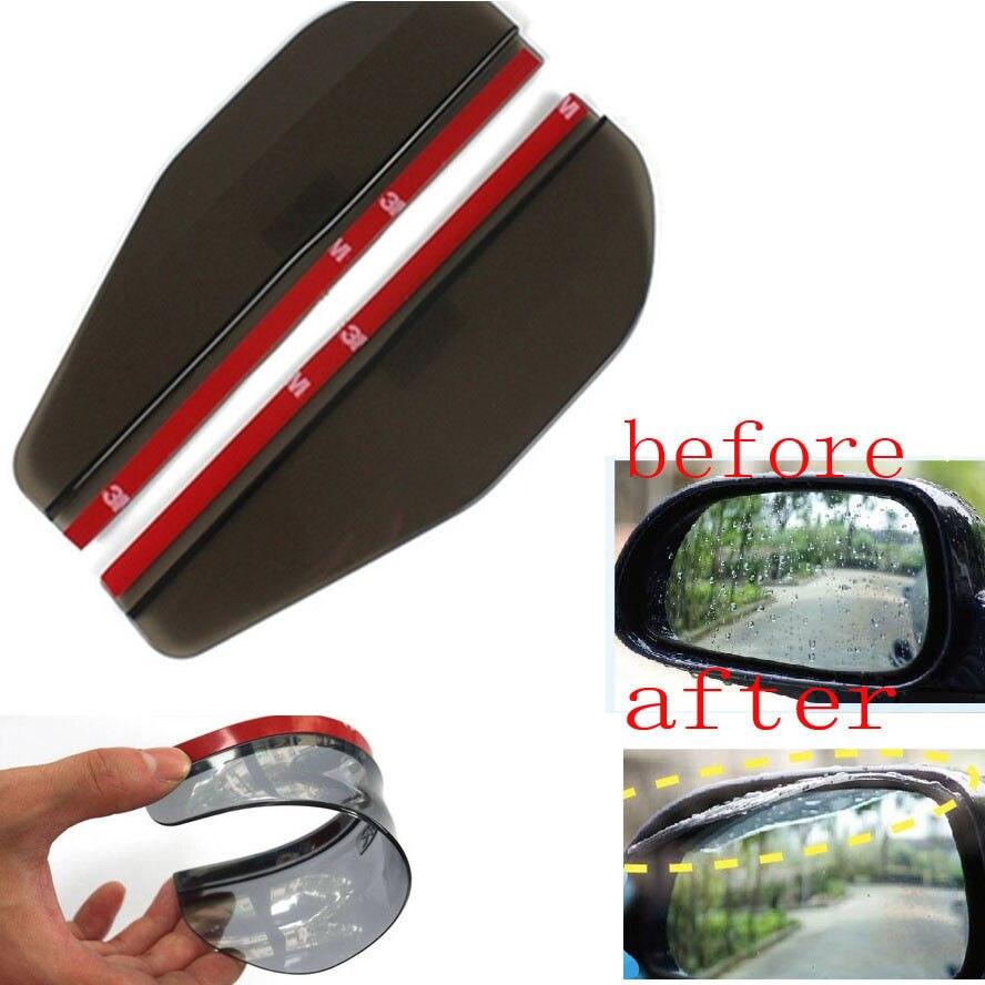 2x Auto BLK Flexible Plastic Rear Mirror Rearview Sun/Rain Board Eyebrow For Honda Hyundai Mazda Lancer Toyota Camry VW GTI