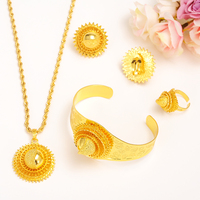 Bangrui Big Yellow Gold Color Ethiopian Hair Jewelry 4pcs Jewelry Sets African Bridal Jewelry For Ethiopian