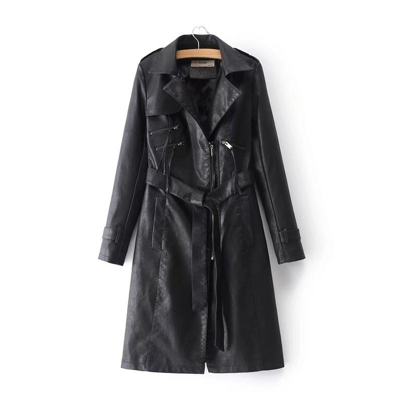 New Female Fashion Faux   Leather   Long Jackets Women-s Cool Black PU Windbreaker Winter Burgundy Trench Coats Ladies Pink Clothing