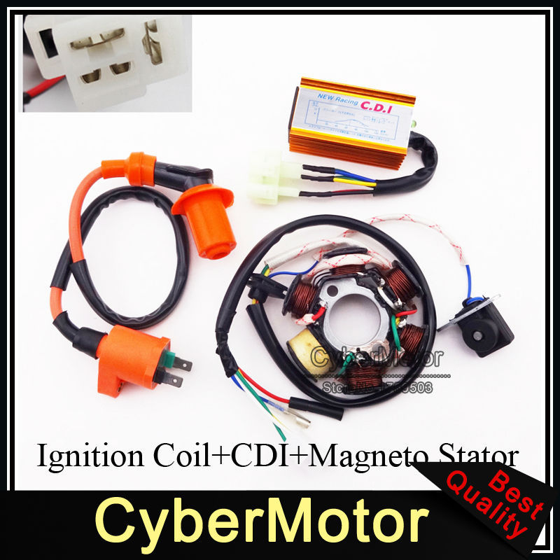 Racing Ignition Coil Magneto Stator 6 Pins Wires AC CDI Box For Chinese ATV Go Kart GY6 50cc Engine Moped Scooter