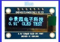 Envío gratis 10 unids/lote 0.91 Pulgadas SPI 128x32 Azul OLED LCD Módulo de pantalla DIY SSD1306 IC Controlador DC 3.3 V-5 V Para Ar-duino PIC