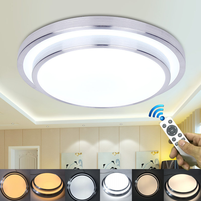 modern 2 4g controle remoto conduziu a luz de teto de aluminio acrilico escurecimento montagem em
