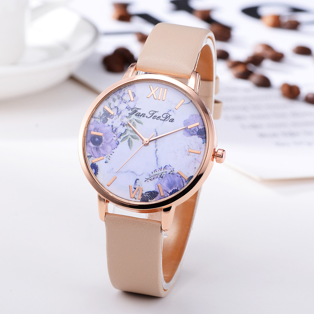 Minimalism Women's Watches Purple Floral  Dial Ladies Simple Quartz Wristwatch Leather Strap Clock Casual Dress Reloj Mujer #W