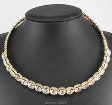 Новый ручной мода белое стекло архаики золотая цепь крутящий момент биб себе женщины колье ожерелья Q1075(China (Mainland))