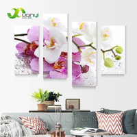 4 Panel Wall Art Picture Beautiful Butterfly Orchid Flower Landscape Oil Painting Wall Painting Print On