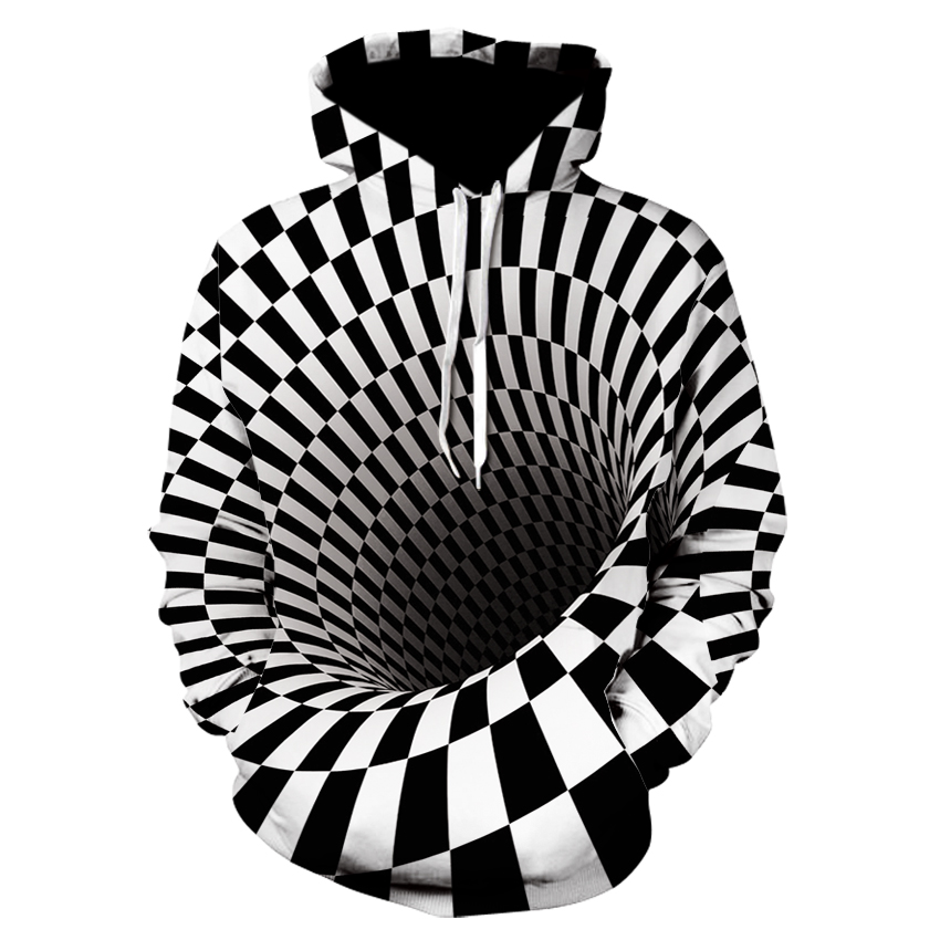 Cool boys 2019 fun design hoodie, black and white checkered illusion pit hoodie sweatshirt skateboard for men and women thin fal