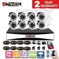 Tmezon AHD 8CH 1080H DVR CCTV Security Surveillance System 8pcs 800TVL Outdoor Bullet Camera Auto IR Night Vision 1TB 2TB HD Set