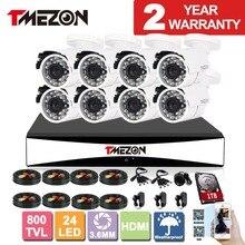 Tmezon AHD 8CH 1080H DVR CCTV Security Surveillance System 8pcs 800TVL Outdoor Bullet Camera Auto IR Night Vision 1TB 2TB HD Set