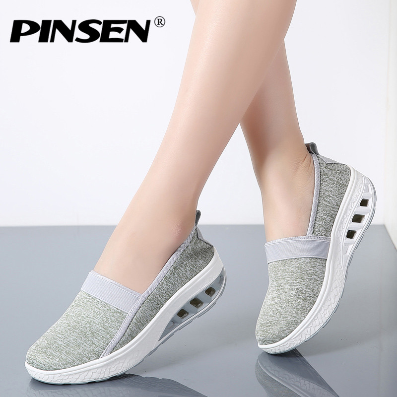 PINSEN 2018 Fashion Sneakers Women Autumn Slip-on Casual Shoes Woman Flat Platform Creepers Shoes Moccasins zapatos mujer цены онлайн