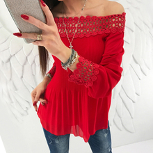 2018 Summer Women blouse shirts Long Sleeve Pleated Sexy Off Shoulder blouses Hollow Out Lace women Shirts Tops Blusas