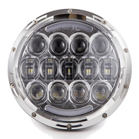 1pcs Silver 7inch 105W LED Motorcycle Headlight High Low Beam LED Headlamp With Amber Turn Signal