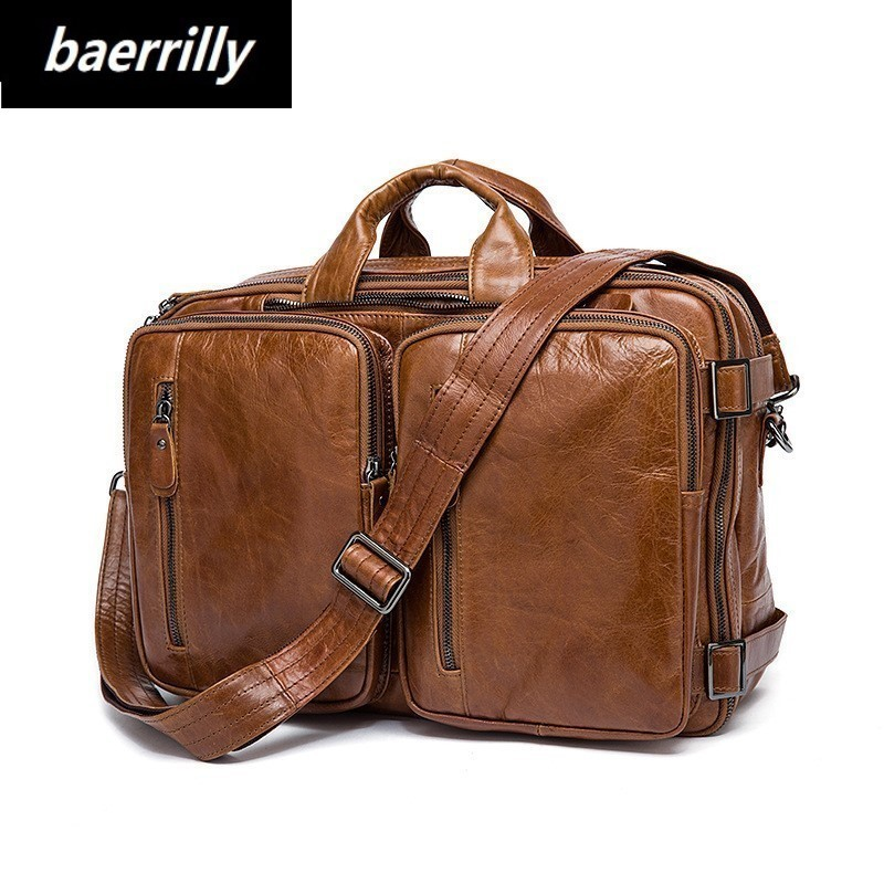 купить Vintage Crazy Horse Genuine Leather Briefcase men Business Bag Men Briefcase Leather Laptop Bag tote male Briefcases Office Bag по цене 7729.28 рублей