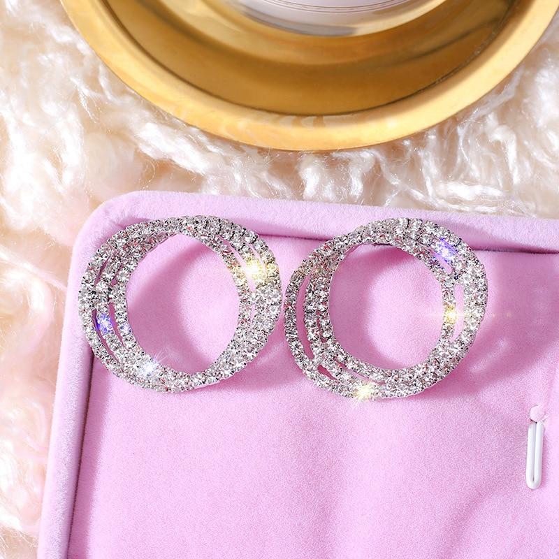 FYUAN Fashion Korean Style Small Circle Stud Earrings Luxury Gold Silver Color Rhinestone Earring Women Weddings Party Jewelry