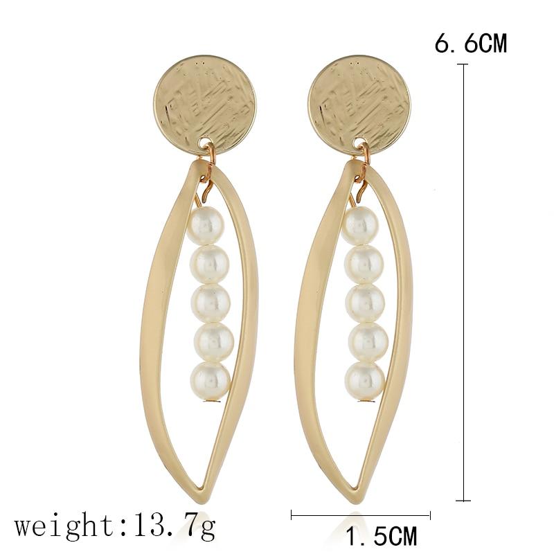 L H Korean Fashion Gold Color Imitation pearls Water Drop Geometric Dangle Earrings For Women 2018 Female Winter Jewelry Gift in Drop Earrings from Jewelry Accessories
