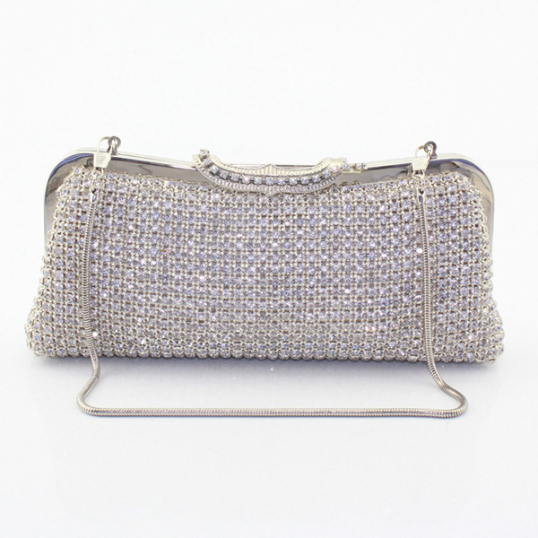 Crystal Handbag Black Metal Clutches Evening Bag Ladies Diamond Party Prom Clutch Purse Women Bags (6082-BG) купить