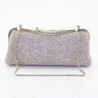 Crystal Handbag Black Metal Clutches Evening Bag Ladies Diamond Party Prom Clutch Purse Women Bags 6082