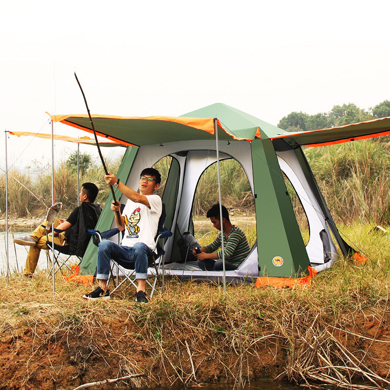 CM091 tent outdoor camping 3-4-6 people camping big tent multi-person automatic hydraulic tent 3 4 person big size tent for outdoor camping large size camping tent 245x245x145cm 4 67kg